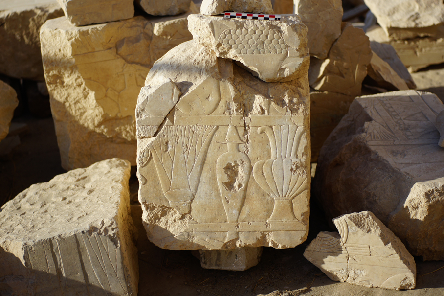 Blocks representing the offerings, matched to the upper part of Hatshepsut Chapel, photo by K. Braulińska
