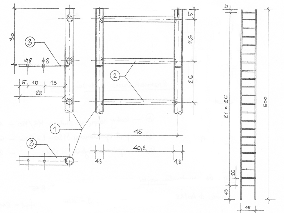 Part of the design of the ladder, 1- steel pipe  48/3.5; 2 - pipe 30/2.5; 3 - rectangular tube 50/8. Dimensions are in mm. Figure by M. Michiewicz