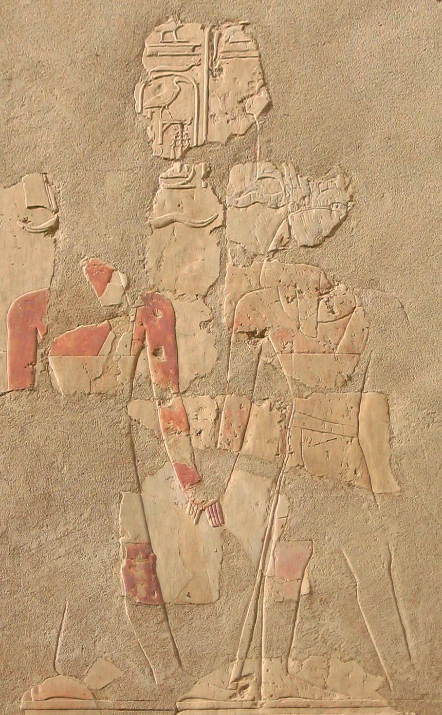 Upper Courtyard, south wall, Hatshepsut leading Tuthmosis III by the hand. Phot. M. Sankiewicz